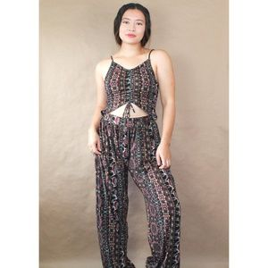 (160) earthbound printed soft jumpsuit
